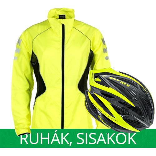 Kerékpáros ruházat - kabát, nadrág, cipő, sisak, sapka